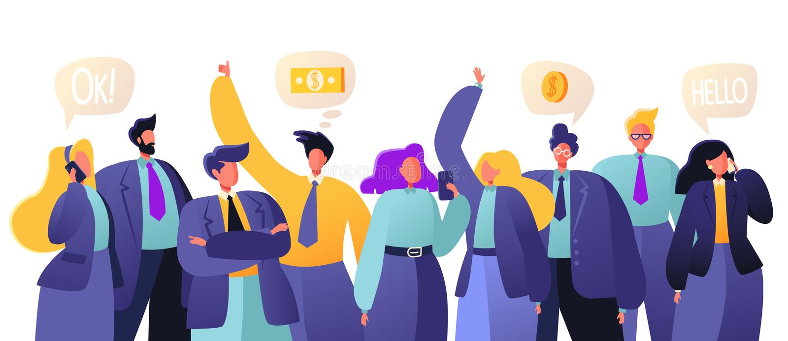 Business teamwork concept. People decide business questions, confer. Group of business people, office workers standing together. Colorful vector illustration royalty free illustration
