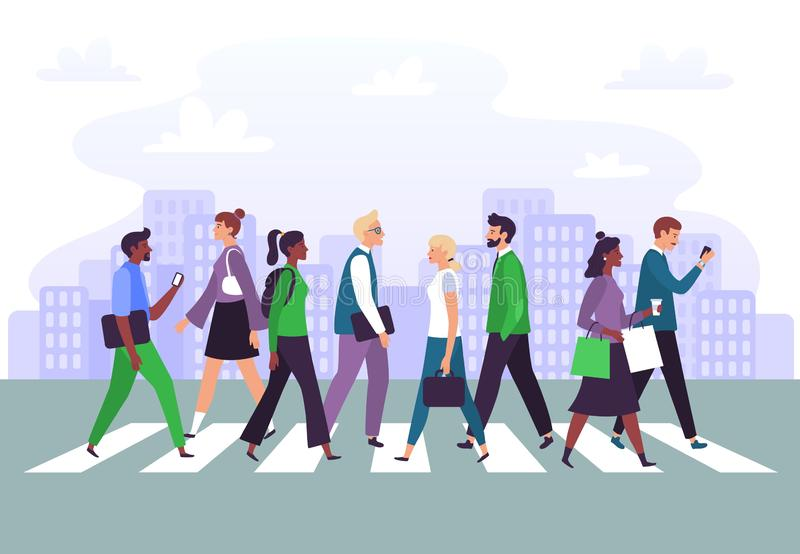 Business people cross road. Businessman crosses zebra crossing, walk to office and city roads crosswalk vector. Business people cross road. Businessman crosses royalty free illustration