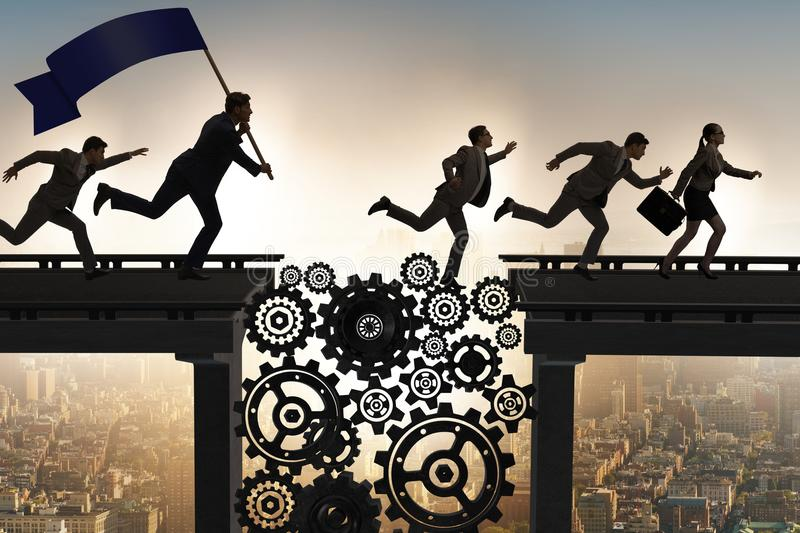 The business people crossing the bridge with cogwheels. Business people crossing the bridge with cogwheels stock image