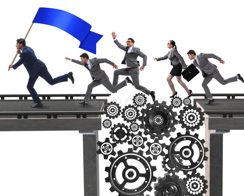 Business people crossing the bridge with cogwheels. The business people crossing the bridge with cogwheels royalty free stock photo