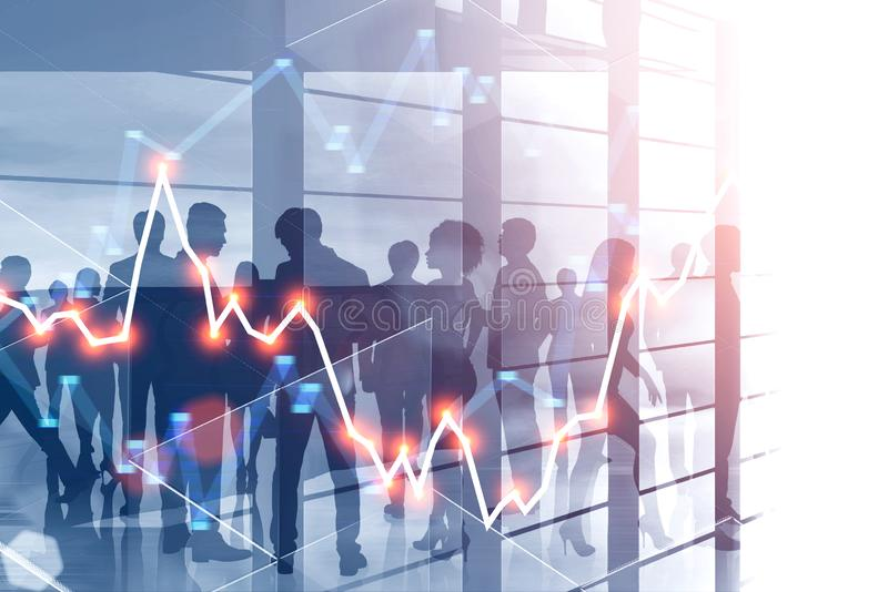Business people crowd in skyscraper, graph vector illustration