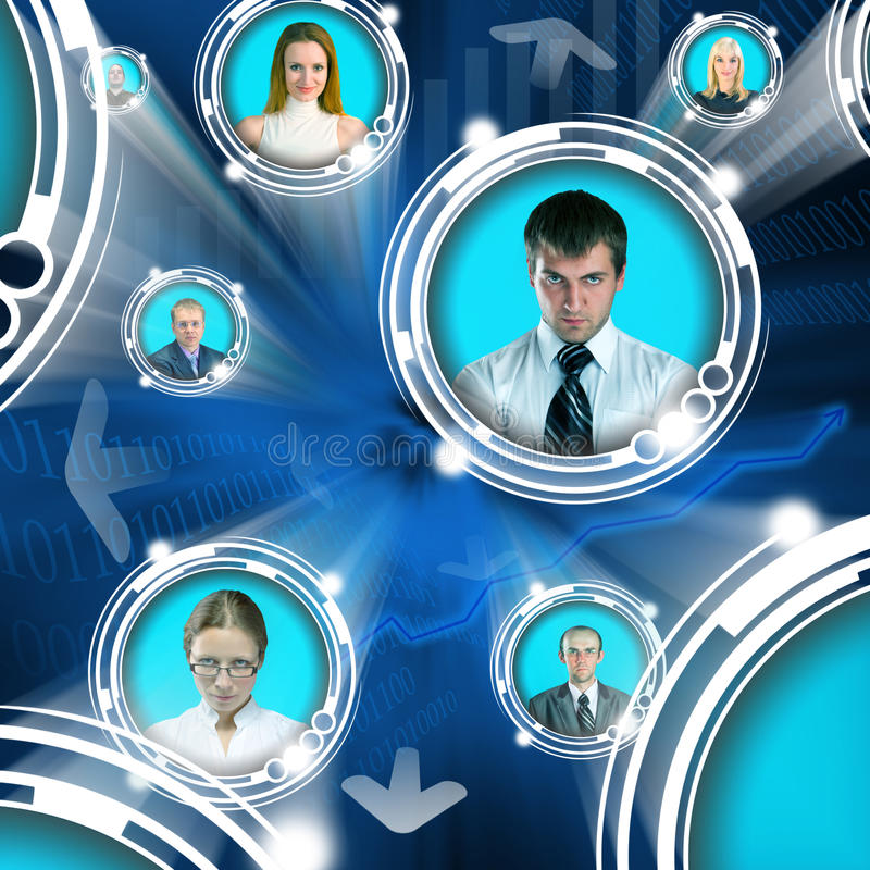 Business people in cyberspace royalty free illustration