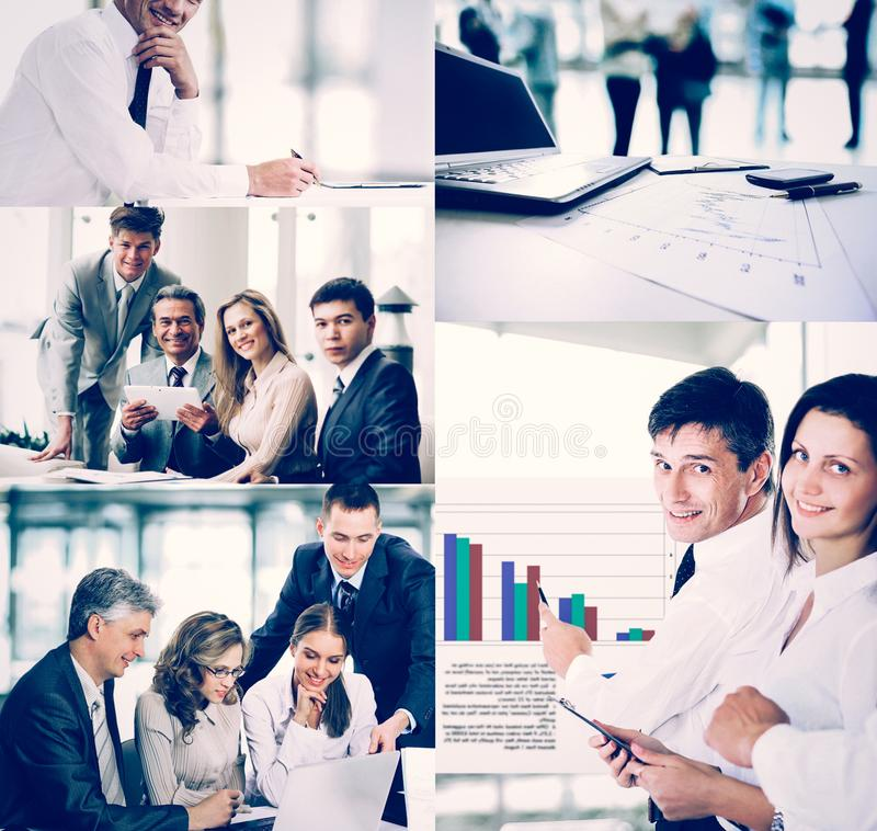 Business people in the different situations of trainings, presen. Business people in various situations connected with trainings, presentations, negotiations and royalty free stock photos