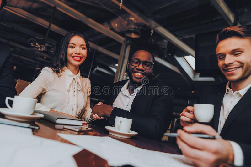 Business People Dinner Meeting Restaurant Concept stock photo