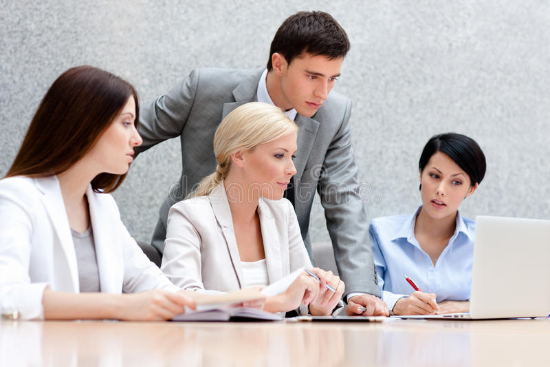Download Business People Discuss Their Work Stock Photo - Image of centre, busy: 26756568