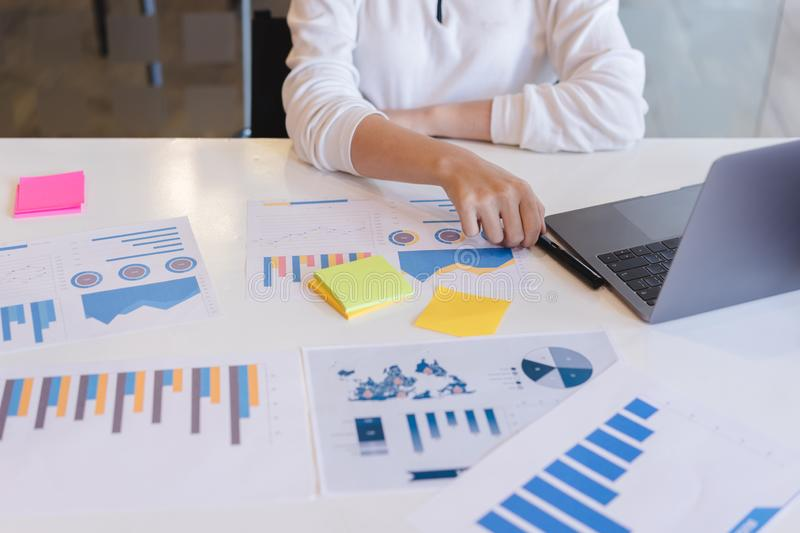 Business people discussing,analyzing investment charts.board of directors planning project, Business Analysis and Strategy concept stock photo