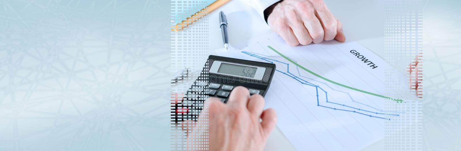 Business people discussing about financial results. panoramic banner royalty free stock images