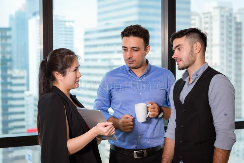 Business People are Discussing Something About Their Project and  Problem Solving in Workspace Office, Professional Manager is. Explaining to His Partnership royalty free stock photo