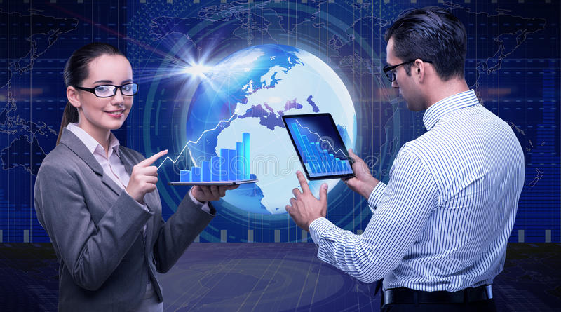 The business people discussing stock chart trends. Business people discussing stock chart trends royalty free stock images