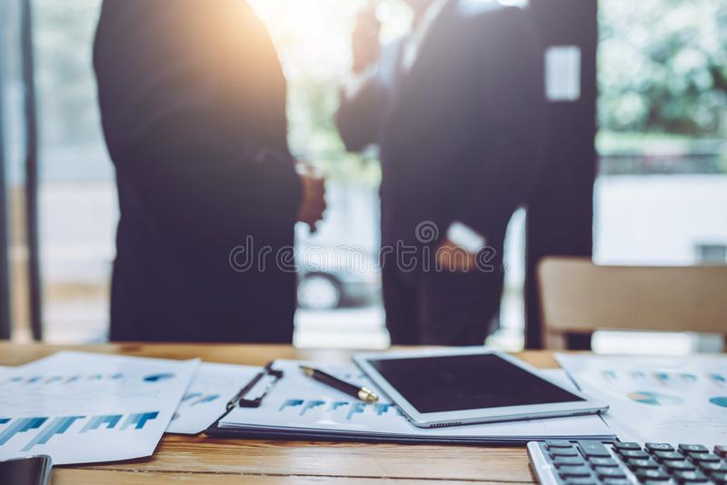 Business people discussing together in conference stock photography