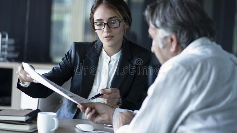 Business people discussion advisor concept stock photography
