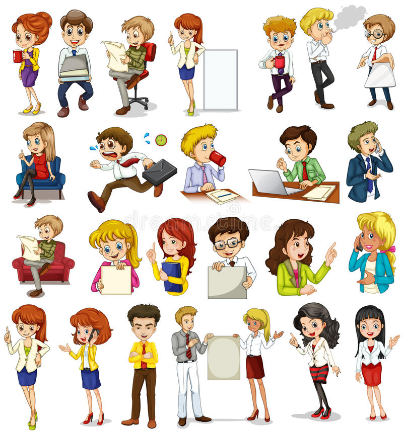 Business people doing different activities royalty free illustration