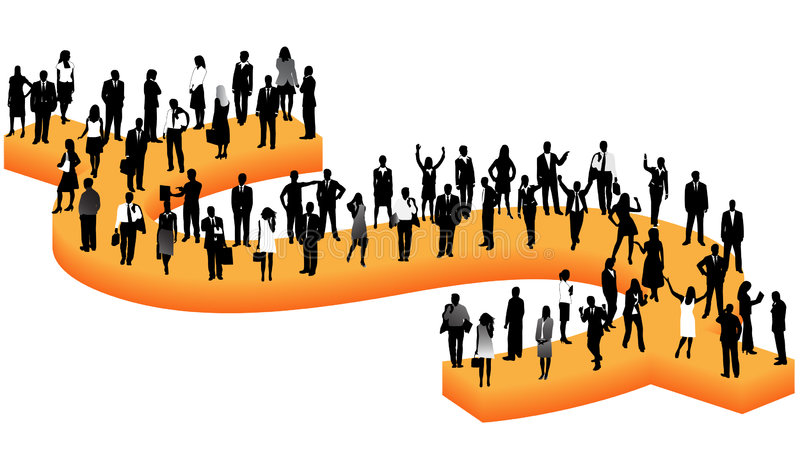 Business people and dollar royalty free illustration
