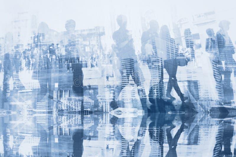 Business people double exposure stock image
