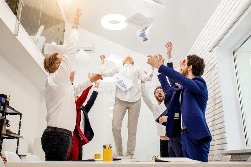 Business people enjoy after successful work stock images