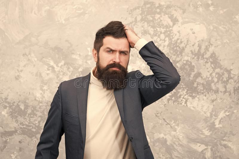 Business people fashion style. Facial hair and grooming. Man handsome bearded businessman wear formal suit. Menswear and. Fashion concept. Guy brutal fashion stock photography