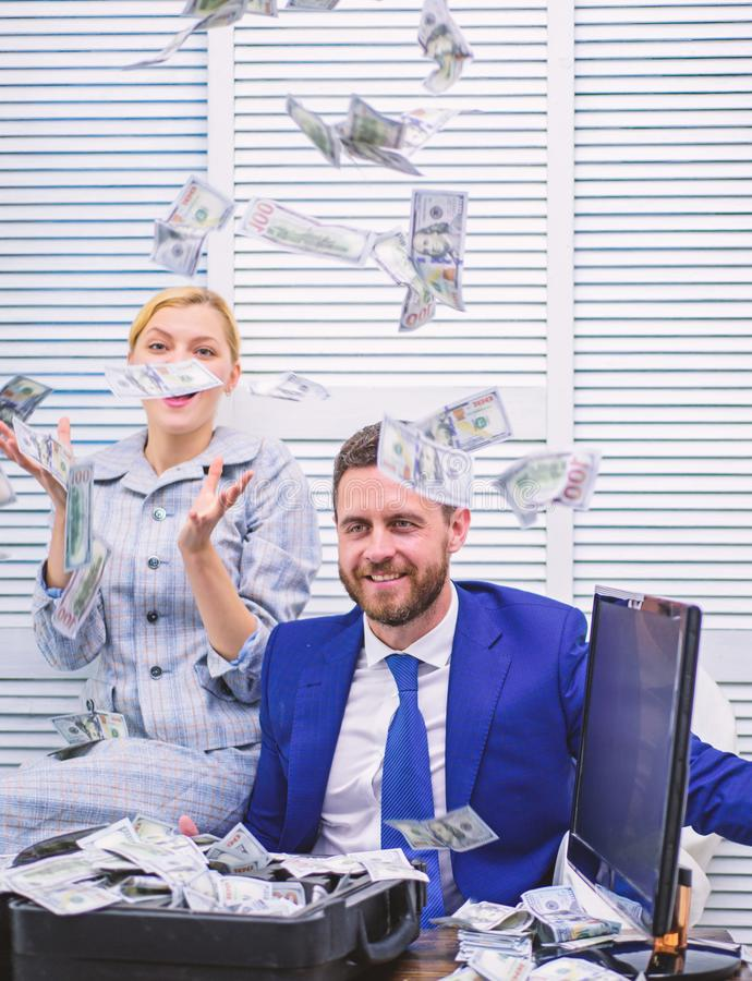 Business, people and finances concept. Businessman received money from his partner at working desk at office. Rich. Person stock images