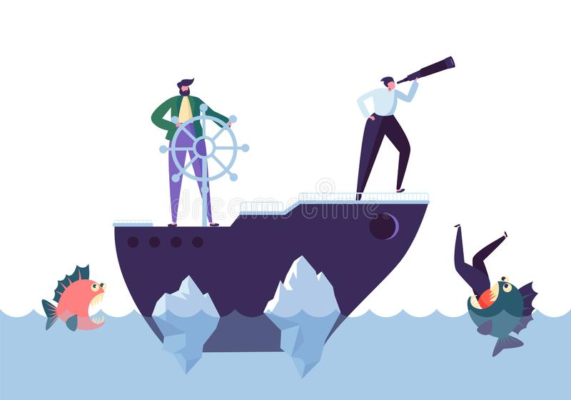 Business People Floating on the Ship in the Dangerous Water with Sharks. Leadership, Support, Crisis Manager Character. Teamworking Concept. Vector vector illustration