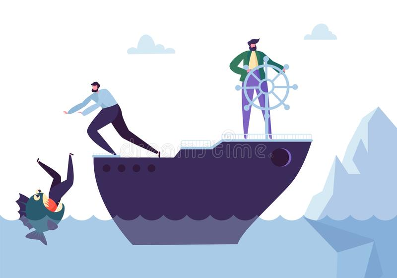 Business People Floating on the Ship in the Dangerous Water with Sharks. Leadership, Support, Crisis Manager Character. Teamworking Concept. Vector stock illustration