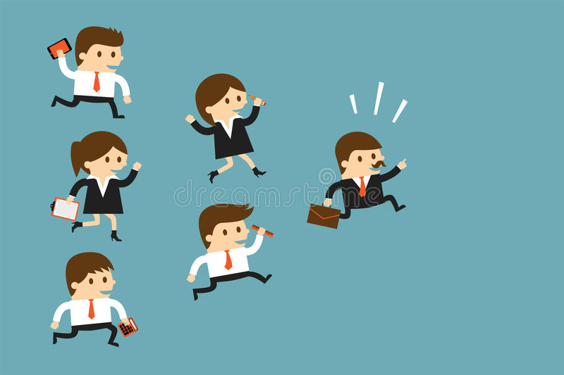 Business people following leader royalty free illustration