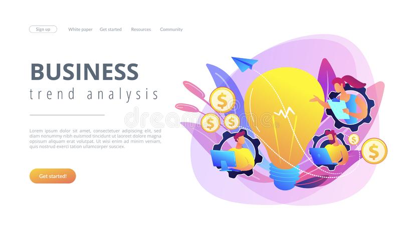 Business trend analysis concept landing page. Business people in gears with laptops working and lightbulb. Business trend analysis and choosing business royalty free illustration