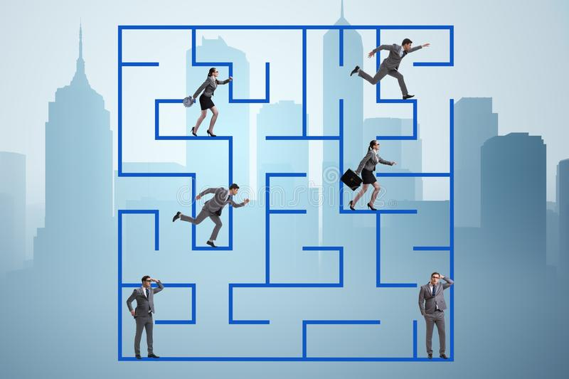 The business people getting lost in maze uncertainty concept. Business people getting lost in maze uncertainty concept royalty free stock photo