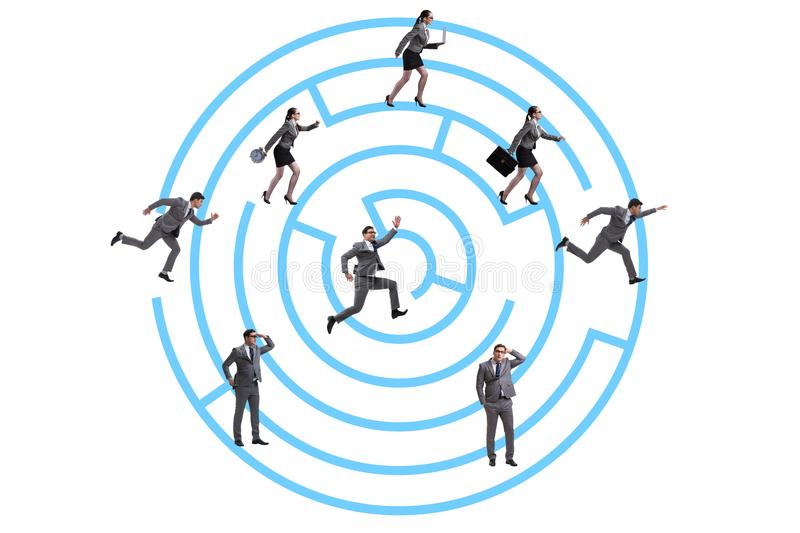 The business people getting lost in maze uncertainty concept. Business people getting lost in maze uncertainty concept stock photo