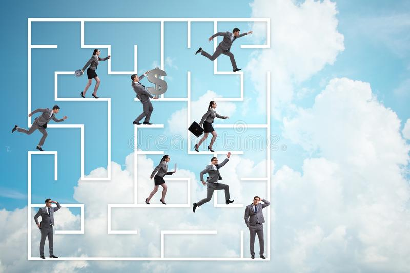 The business people getting lost in maze uncertainty concept. Business people getting lost in maze uncertainty concept stock images