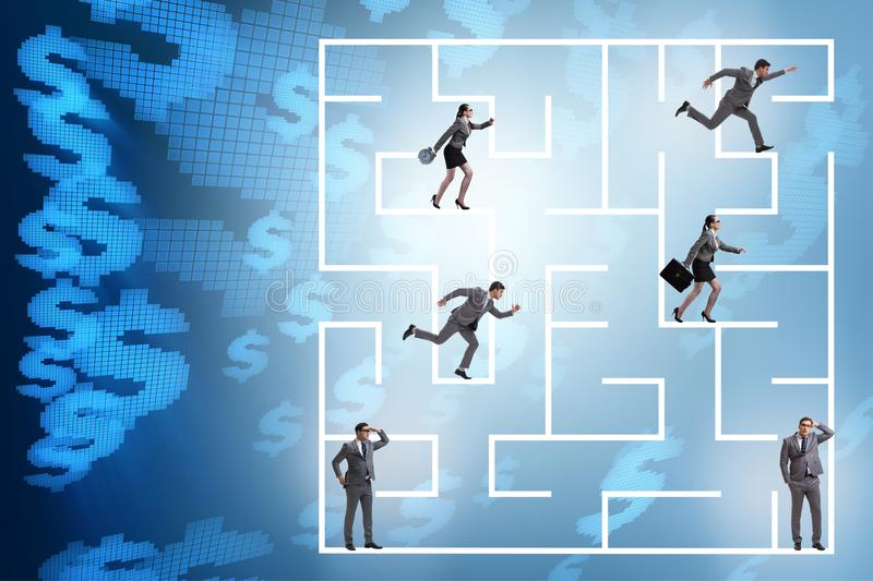 The business people getting lost in maze uncertainty concept. Business people getting lost in maze uncertainty concept stock image