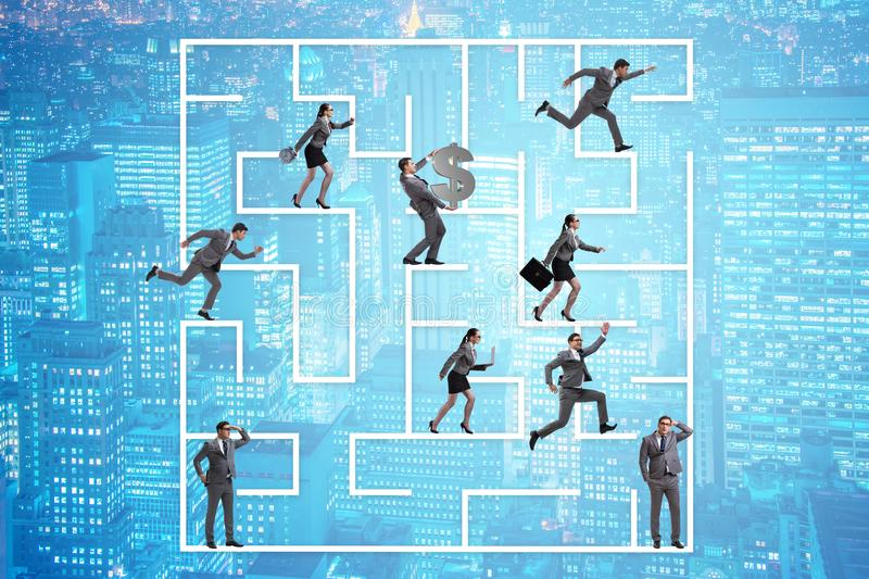 The business people getting lost in maze uncertainty concept. Business people getting lost in maze uncertainty concept stock photos