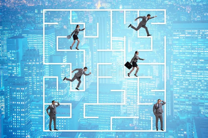 The business people getting lost in maze uncertainty concept. Business people getting lost in maze uncertainty concept stock photography