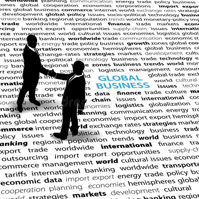 Business people global economic issues text page royalty free illustration