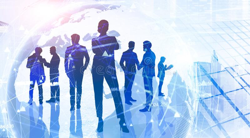 Business people and global network interface stock photo