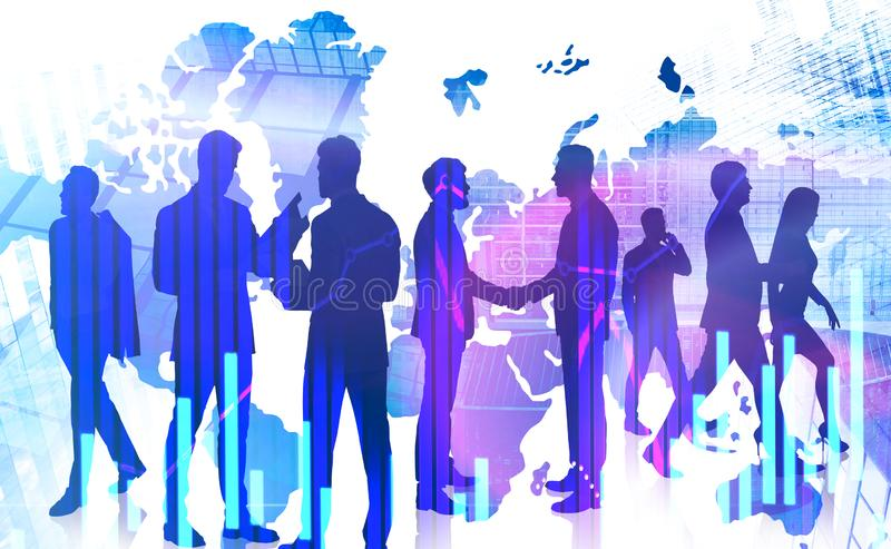 Business people in global world. Silhouettes of diverse business people shaking hands and working together in modern city with double exposure of world map and royalty free stock images