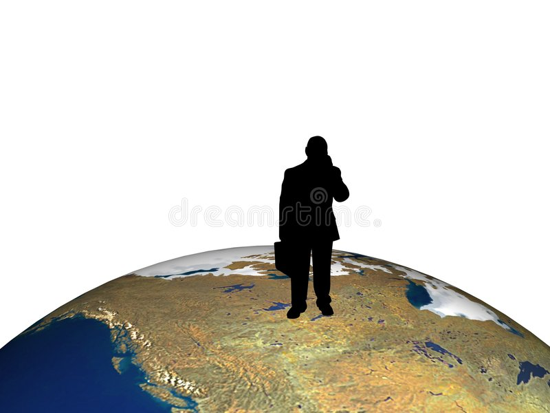 Business people on globe stock illustration