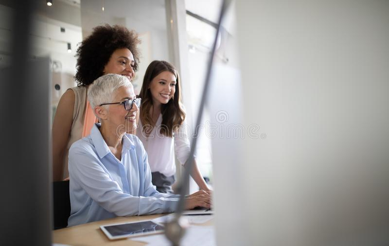 Business people good teamwork in office. Teamwork successful meeting workplace concept. royalty free stock photography