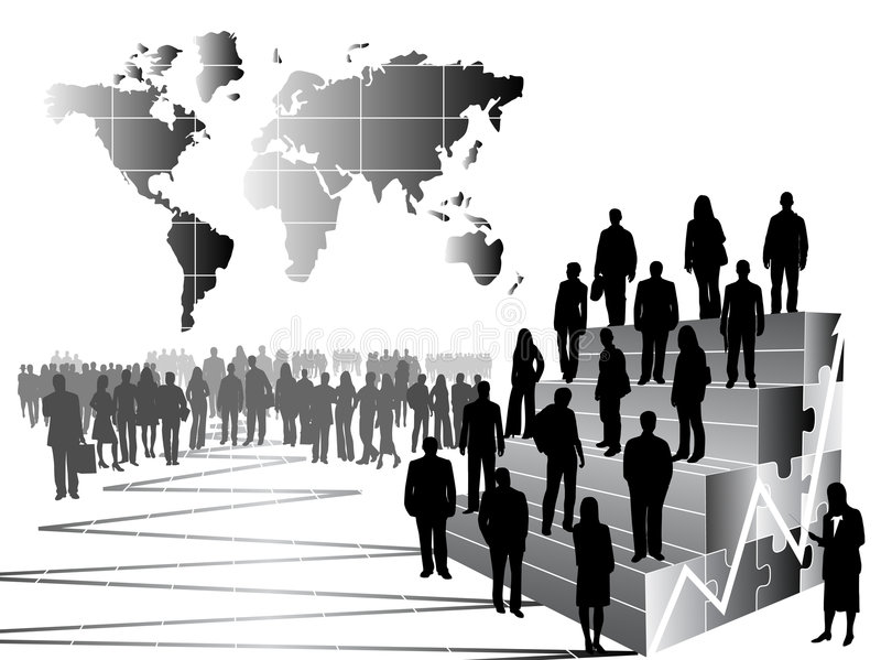 Business people and graph vector illustration