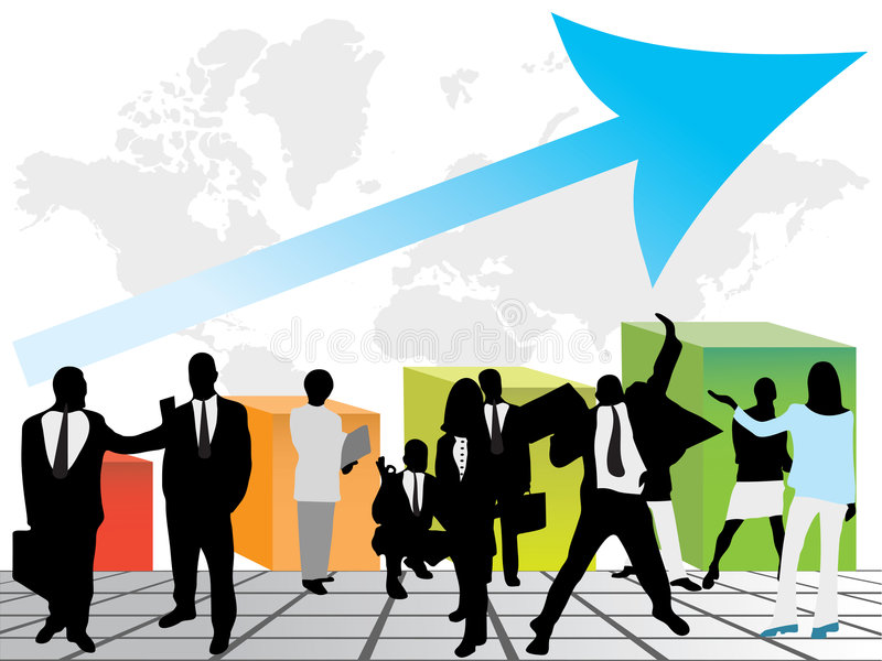 Business people and graph that show success royalty free illustration