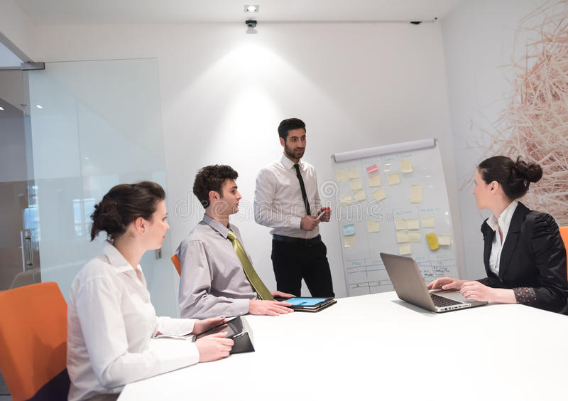 Business people group brainstorming and taking notes to flip boa. Business people group brainstorming on meeting at office, businessman presenting plans, tasks stock images