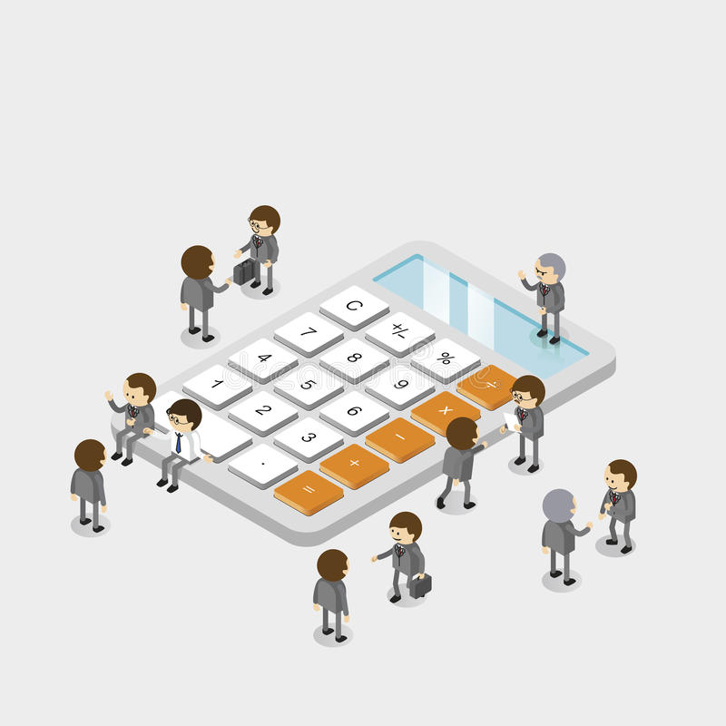 Business people group on calculator. Business People Group Calculator 3d Isometric Vector vector illustration