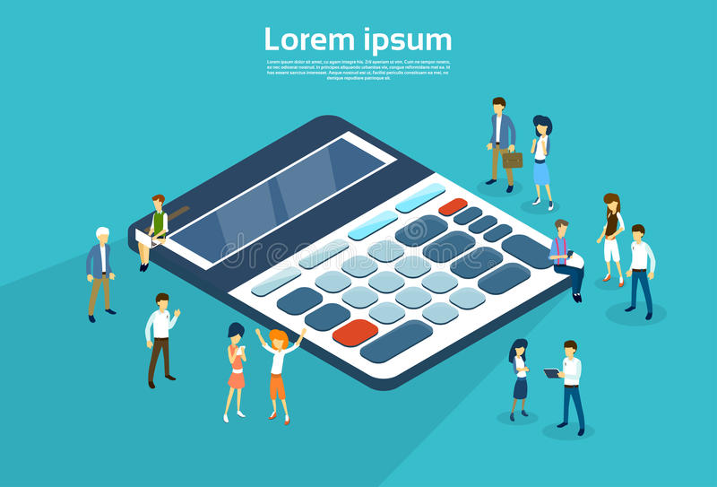 Business People Group Calculator 3d Isometric royalty free illustration