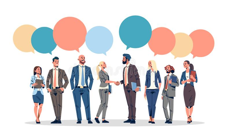 Business people group chat bubble communication concept businessmen women speech relationship male female cartoon. Character full length horizontal isolated royalty free illustration
