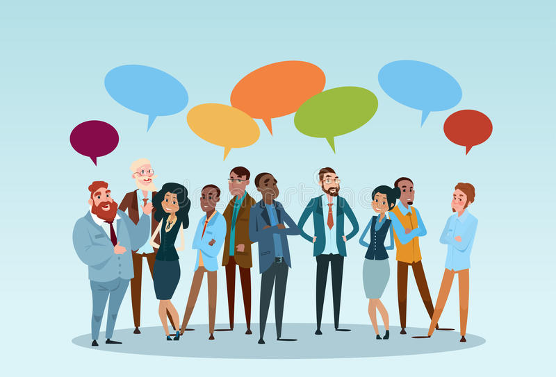 Business People Group Chat Communication Bubble, Businesspeople Discussing Social Network. Business People Group Chat Communication Bubble, Businesspeople royalty free illustration