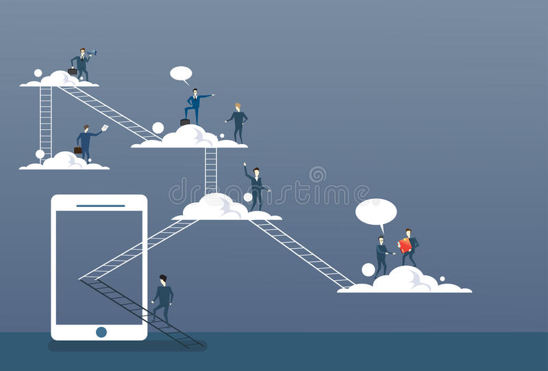 Business People Group On Clouds, Connection Technology Online Internet Corporate Data Access royalty free illustration
