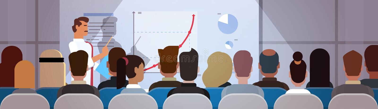 Business People Group at Conference Meeting Training Courses Flip Chart with Graph. Flat Vector Illustration stock illustration
