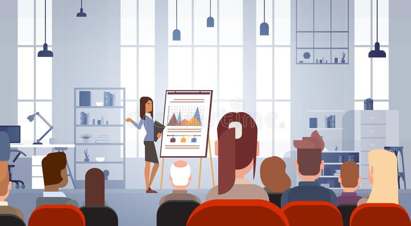 Business People Group at Conference Meeting Training Courses Flip Chart with Graph. Flat Vector Illustration royalty free illustration