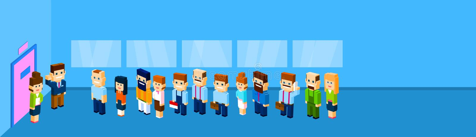 Business People Group Crowd Stand In Line To Door Office Waiting stock illustration