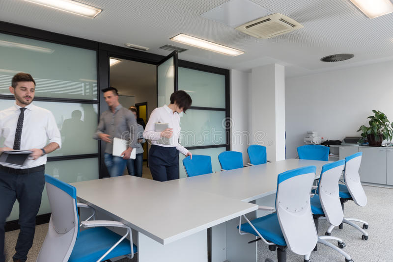 Download business people group entering meeting room motion blur stock photo image of company