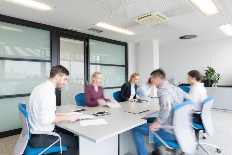 Download business people group entering meeting room motion blur stock image image of company