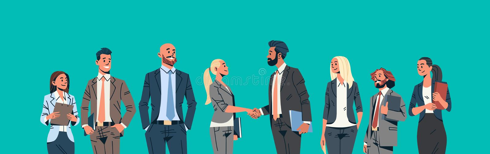 Business people group hand shake agreement communicating concept businessmen women team leader meeting male female. Cartoon character portrait horizontal banner vector illustration